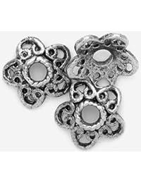 6 perles en métal - Fil de fer tressé - Embout, perles charm´s intercalaires, métal vieilli argenté, Trou 2x10mm