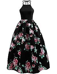 HOMEBABY Stampato Floreale Abiti Lunghi Donna Eleganti - Estivi Vestiti  Casual Donna - Vintage Maxi Abito 835a4828ae4