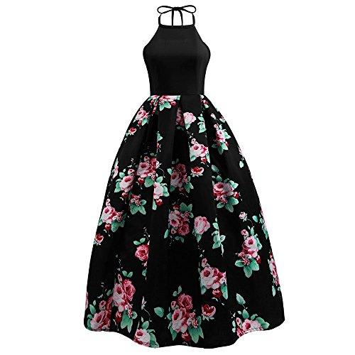 OverDose Damen Urlaub Reisen Stil Frauen Floral Bedrucktes Langes Kleid Sleeveless Party Abend Strandzeremonie Open Back Schlank Maxi Kleid(Schwarz,EU-34/CN-M)