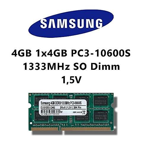 Samsung 4GB (1 x 4Go) dDR3 (pC3 10600S 1333MHz sO-dimm pour ordinateur rAM rAM memory portable