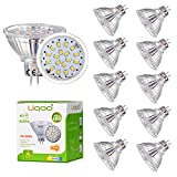 Liqoo 10er 6W MR16 / GU5.3 / GX5.3 LED Lampe, Ersetzt für 40W Glühlampe, Warmweiß 3000K, 430Lumen, AC/DC 12V, 80 Ra, 120° Abstrahwinkel, 18 x 2835 SMDs, LED Birnen, LED Leuchtmittel