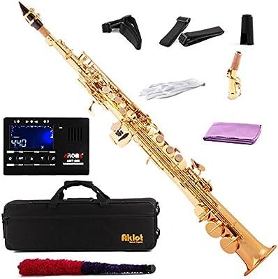 aklot BB Soprano Saxofón Sax Oro lacado cuerpo de latón con sintonizador y cañas