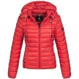 Marikoo Damen Stepp Jacke Daunen Look gesteppt Übergang XS-XXL 10-Farben, Größe:M / 38;Farbe:Rot