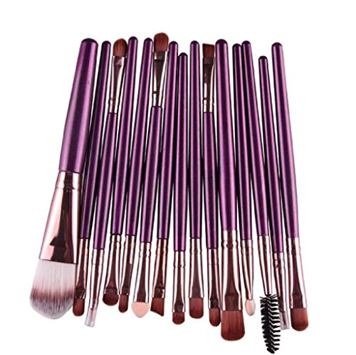 Tonsee 15 pièces / Set Eye Shadow Foundation Sourcils Lip Brush pinceaux de maquillage outils Violet