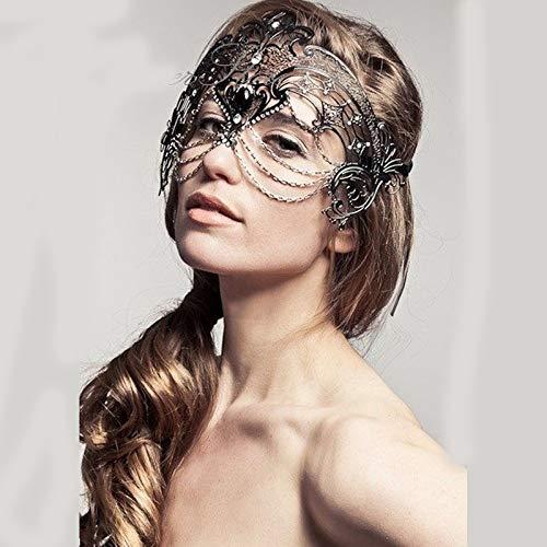 ZYABCDG Phantom Metall Laser Cut Silber Gold Hochzeit Maske Frauen Kette Kostüm venezianischen Filigrane schwarz Cosplay Maskerade - Ball Und Kette Kostüm Paar