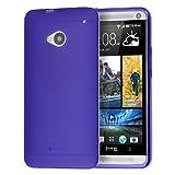 doupi PerfectFit TPU Custodia per HTC One (M7), Tappi di Polvere incorporatin Mat Trasparente Cover, Purple