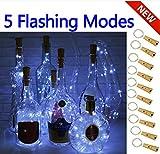 5 Dimmbare Licht-Effekte Intelligente Weinflaschen-10er Pack 20 LED Silber-Kupferdraht Fairy String Batteriebetrieben Lichterketten,für DIY,Party,Dekoration, Weihnachten,Hochzeiten(KALTWEISS)