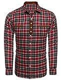 Burlady Hemd Herren Kariert Langarm Trachtenhemd Karohemd Stickereien Freizeit Männer Shirt (S, Rot-Y)