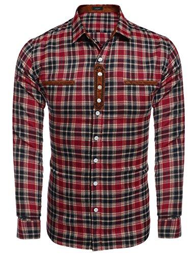 Burlady Hemd Herren kariert Langarm Freizeithemden karohemd männer Hemd Stickereien Regular fit Trachtenhemd Herren Shirt