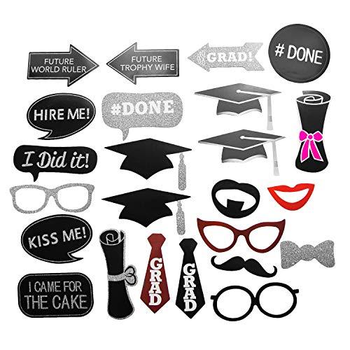 Oblique Unique® 24 Fotorequisiten Foto Props Booth Masken für Führerschein Abi Abitur Studium Abschluss Schulabschluss Foto Accessoires Verkleidungen