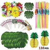 Howaf 111 Piezas Decoracion Fiesta Hawaiana Tropical con Hojas de Palmera, Flores de Hibisco, Piñas...