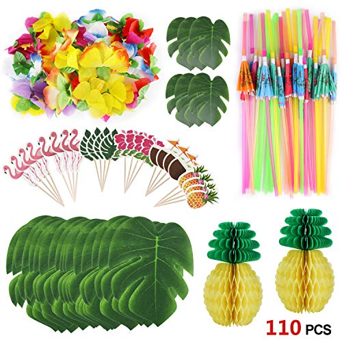 pical Party Dekoration Lieferungen, Tropical Palm Monstera Blätter und Hibiskusblüten, Strohhalme, Ananas, Cupcake Topper für Hawaii Luau Party Thema Tischdekoration ()