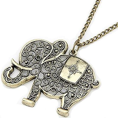 Damen Halskette mit Elefanten Anhänger / Elefantenkette Indian Style in
