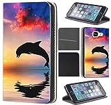 Samsung Galaxy S5 / S5 Neo Hülle von CoverHeld Premium Flipcover Schutzhülle Flip Case Motiv (1543 Delfin Delphine Meer Cartoon Sonne)