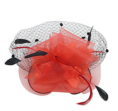 Damen Blumen Fascinator Haar Clip Haar Accessoire (rot)