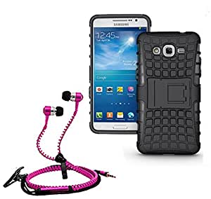 Droit Shock Proof Protective Bumper back case with Flip Kick Stand for Samsung G530 + Stylish zipper hand free for all smart phones by Droit Store.