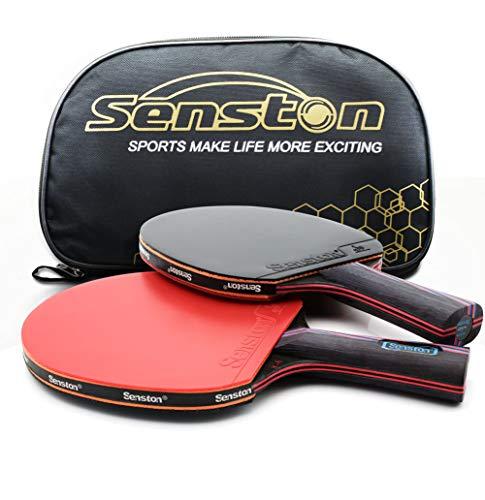 Professioneller Tischtennisschläger von Caleson. Fortschrittlicher Tennisschläger. Ping-Pong-Schläger. Offener Griff., Long-handle Red C 2