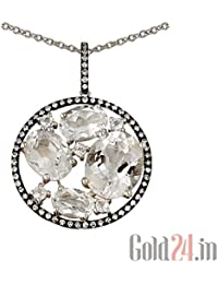 Lurie Jewellery Gold Pendant With Chain With Diamonds And Topazes