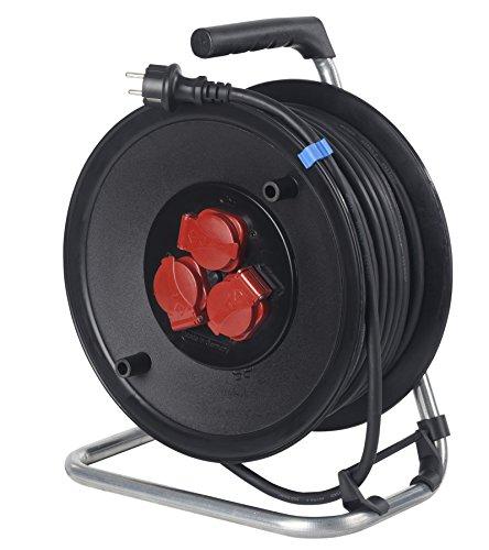 as - Schwabe 20125 Sicherheits-Kabeltrommel 50m aus Spezialkunststoff, Gummischlauchleitung: H07RN-F 3G1,5 IP44 Bau/Gewerbe