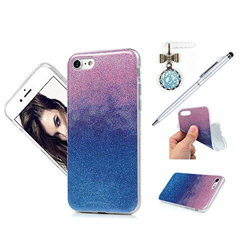 "MAXFE.CO TPU Silikon Hülle für iPhone 7 4.7"" Handyhülle Schale Etui Protective Case Cover Rück mit Glitzern Skin TPU Kantenschutz IMD Design Schutzhülle Rose Rot Purple + Blau"