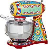 Smeg SMF03DGUK, Dolce & Gabbana Stand Mixer with 10 Variable Speeds, Sicily is my Love Style, 4.8 L Stainl