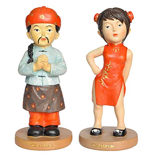 DECORATION Einrichtungsgegenstände, EIN Paar Skulpturenpaare, Chinesische Kostümfiguren Aus Cheongsam, Mini-Schreibtisch, Kleine Ornamente, Touristische Souvenirs (7 X 7 X 15 cm)