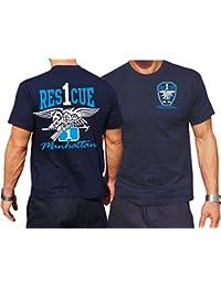 "'T-Shirt bleu marine, ""Rescue 1Manhattan–Eagle de Couleur"
