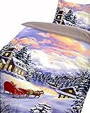 Leonado Vicenti Warme Thermofleece Bettwäsche 4 teilig 135x200 cm Winterdorf See Schnee Schlitten Wendebettwäsche mit Reißverschluss