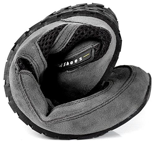 Magical Shoes Explorer Vegan Barfußschuhe | Damen | Herren | Jugendliche | Laufschuhe | Zero Drop | Flexibel | Rutschfest, Größen:44/282mm, Farbe:MS Explorer Vegan - Grau/Schwarz - 6
