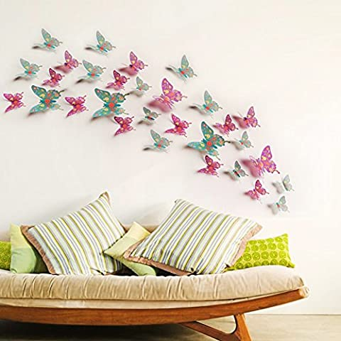 La simulazione 3D della parete a farfalla sticker frigorifero vetro soggiorno camera da letto divano TV decorazioni murali Stickers Figurine,F,grande