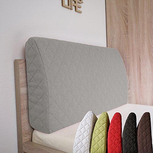 Sabeatex® Rückenlehne für Bett, Sofakissen, Rückenkissen für Lounge-oder Palettenmöbel in 5 trendigen Farben. Länge 90 cm, Höhe 45 cm Farbe: (Grau)