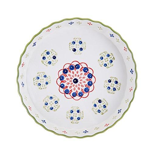 Pfaltzgraff Keramik-Messlöffel runde Tortenplatte 11-Inch rosa/grün