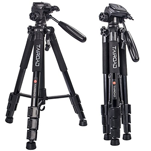 léger trépied - 140 cm Compact Camera trépied panoramique 360 ° avec tête et Plateau Rapide pour Reflex numériques Canon EOS Nikon Sony Panasonic Samsung - Noir