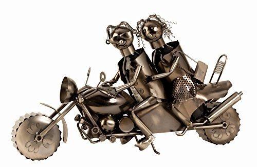 Moderner und riesiger Wein Flaschenhalter Paar auf Motorrad aus Metall Höhe 38 cm Länge 63 cm -