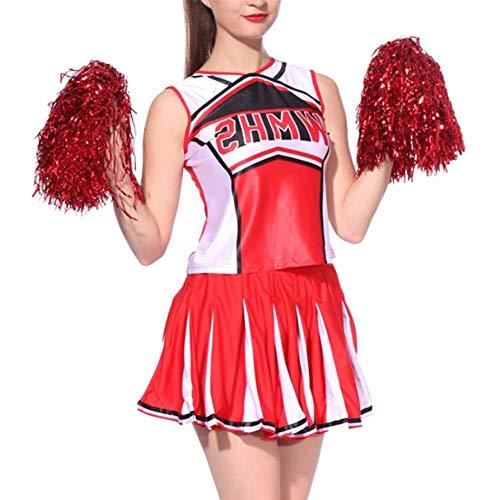 Yudesun Kostüm Verkleiden Damen Erwachsene - Tanzröcke Kleidung Pompons Cheerleader Kleider Tops Kurz Rock Set Tanzkleidung Performance Ballsaal Party Kostüm - Cheerleading Kleidung
