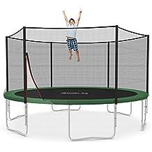 Ampel 24 Outdoor Trampoline Ø 430 cm blau oder grün | Gartentrampolin mit verstärktem Netz | Belastbarkeit 160 kg | verschiedene Ausführungen