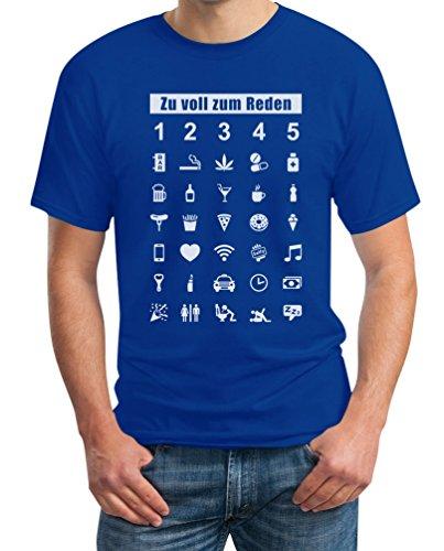 Wenn Zu Voll Zum Reden Zeig Es Mit Dem Finger - 35 Symbole Super Witzig T-Shirt XX-Large Blau (Kreative Sport Kostüm Ideen)