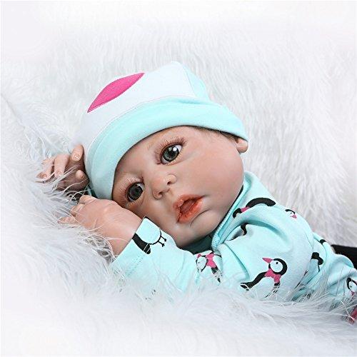 NPK Collection Reborn Baby Doll-Weich Silikon Vinyl 22inch 55 cm magnetisch Mund lebensechte Boy Girl Mädchen Spielzeug Braun bär Puppen schlafen ()