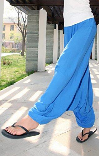 Aivtalk - Damen Sommerhose Tiefer Schritt Hose Leinen Hosen Blau