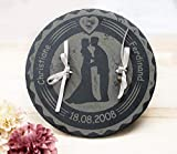 Ringkissen Schiefer, Steinplatte Ringträger personalisiert, mit Namen Datum Gravur, alternatives Ringkissen aus Stein Hochzeit, Ringträgerkissen,
