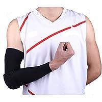 2pezzi compressione braccio lungo manica gomito bretelle UV Protezioni Per Pallacanestro Baseball Ciclismo Outdoor Sports, Black, L