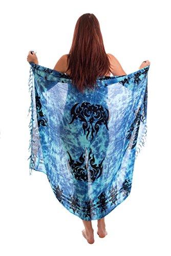 Ca 48 Modelle Sarong Pareo Wickelrock Strandtuch Handtuch Lunghi Dhoti ca. 170cm x 110cm mit Toller Stickerei Handarbeit viele Modelle Tribal Türkis Blau Lila