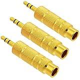 3,5mm (1/20,3cm) Stecker auf 6.35mm (1/10,2cm) Stereo-Buchse Audio Adapter Kopfhörer Anschluss, 3Stück/Pack
