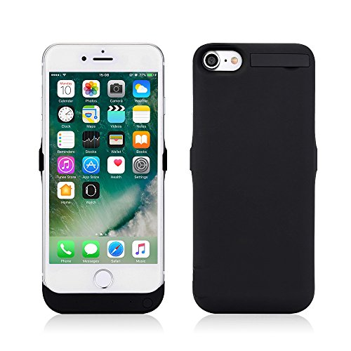 Lenuo 10000mah Akku Hülle für iPhone 7 mit Halterung für Video sehen 3-in-1 External Batterie Power bank Backup Power Case für iPhone 7-4,7 Zoll (iphone7, schwarz) Batterie-backup Iphone 4