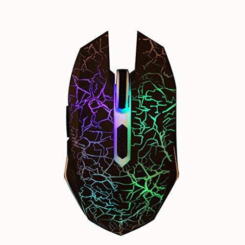 pulison (TM) Ergonomische Colorful Atmen LED-Leuchten DPI 2400dpi Optische Verstellbare 6D Knopf Wired Gaming Maus Mäuse für PC Desktop Oberfläche MacBook für Pro Gamer schwarz -