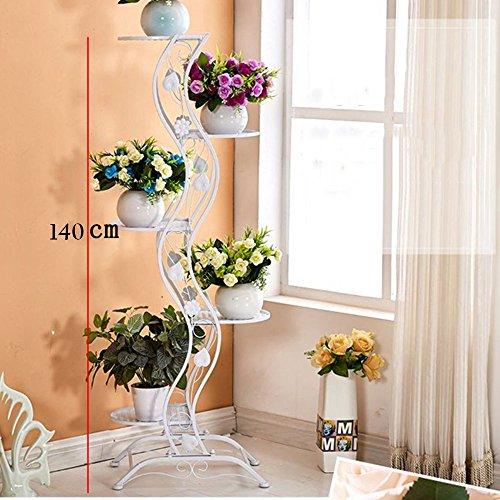 XIAOLIN- Ensemble de fleurs en fer de style européen Multi-couches Pots de fleurs au sol Plus stable Capacité de roulement forte Salle de séjour intérieure et extérieure Balcon Plantes vertes Étagère à fleurs --Cadre de finition de fleurs ( Couleur : 03 , taille : 140*45cm )
