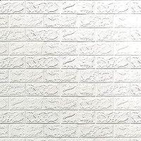 ورق جدران لاصق ثلاثي الابعاد مصنوع من الاسفنج مقاس 70x77 سم من هابي تويز للديكور المنزلي الآمن- لون ابيض