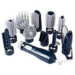 DPWELL 10in1 Multi Hot Air Styler Hair Brush Comb Dryer for Straighting Curling Hair (Dark Blue)