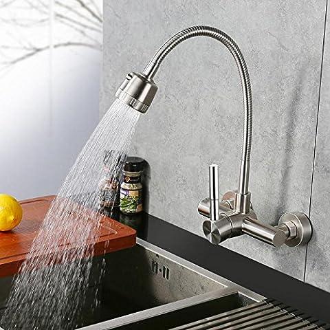 Küchenspüle Wasserhahn Heißer und kalter Edelstahl Universal In den Wandhahn (Brunnen Belüfter)