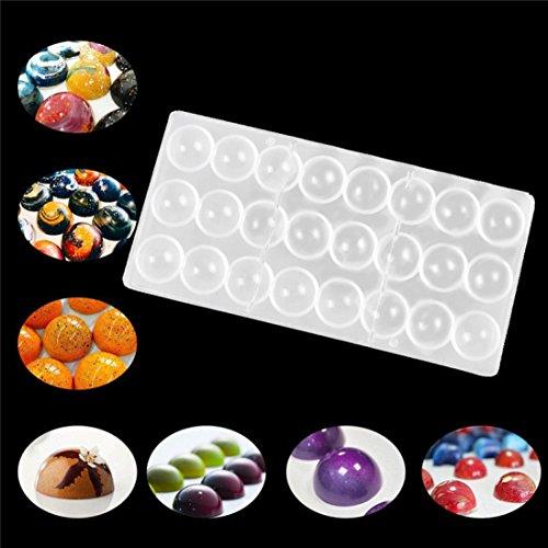HCFKJ Klare Harte Schokolade Maker Polycarbonat Pc Diy 24 Halb Ball SüßIgkeiten Form Mould